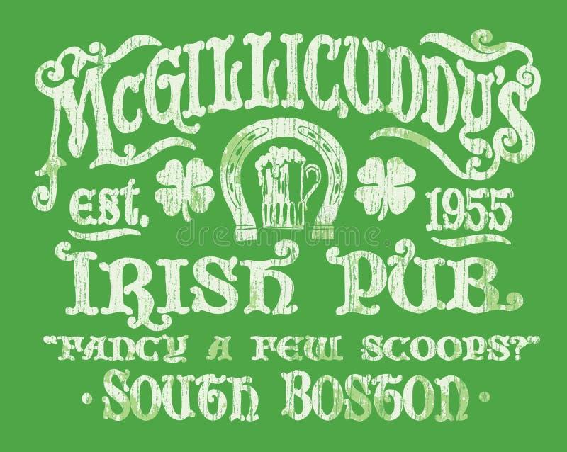 葡萄酒爱尔兰客栈标志T恤杉图表 皇族释放例证