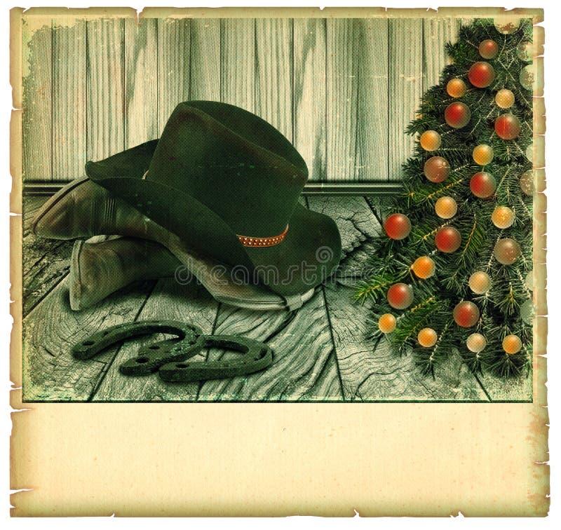 葡萄酒牛仔圣诞卡。美国背景 库存图片