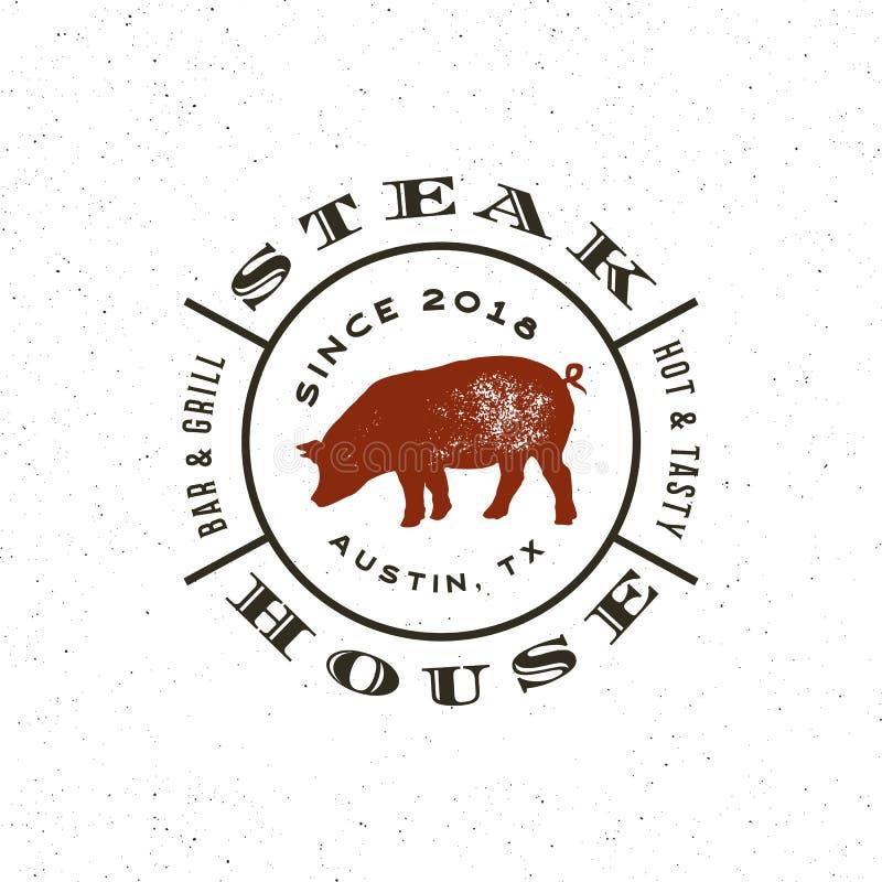葡萄酒牛排餐厅商标 减速火箭的被称呼的格栅餐馆象征 也corel凹道例证向量 向量例证