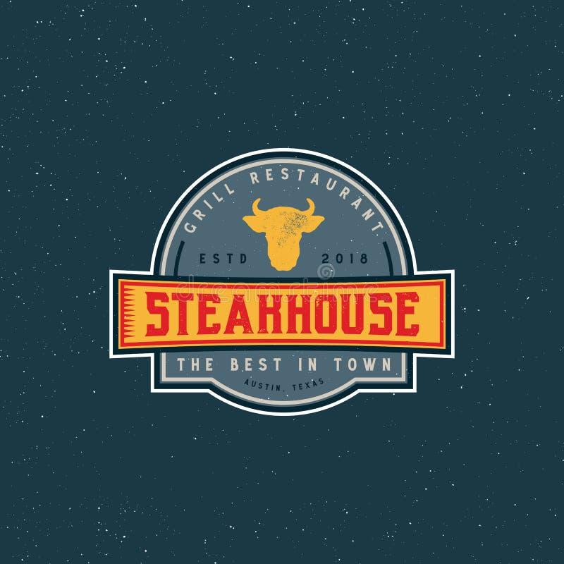 葡萄酒牛排餐厅商标 减速火箭的被称呼的格栅餐馆象征 也corel凹道例证向量 皇族释放例证