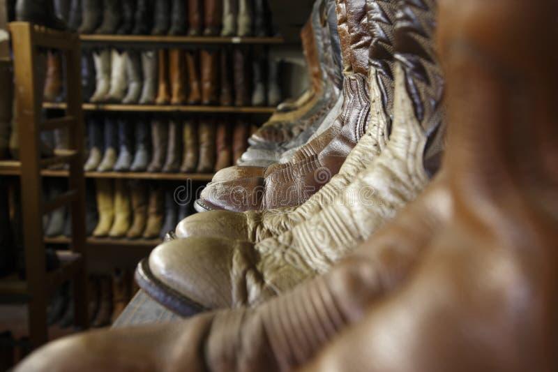 葡萄酒牛仔靴在休斯敦得克萨斯 免版税图库摄影