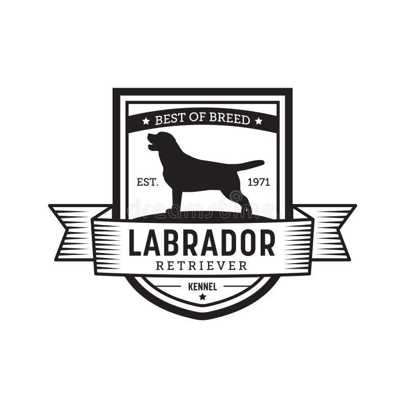 葡萄酒狗徽章 拉布拉多猎犬商标 向量例证