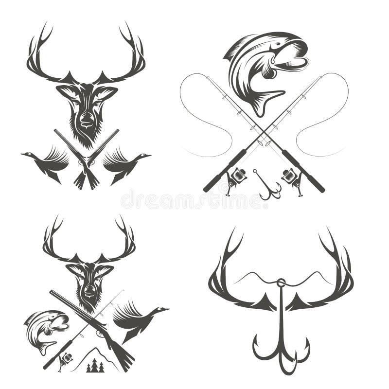 葡萄酒狩猎和渔标签和设计元素 库存例证