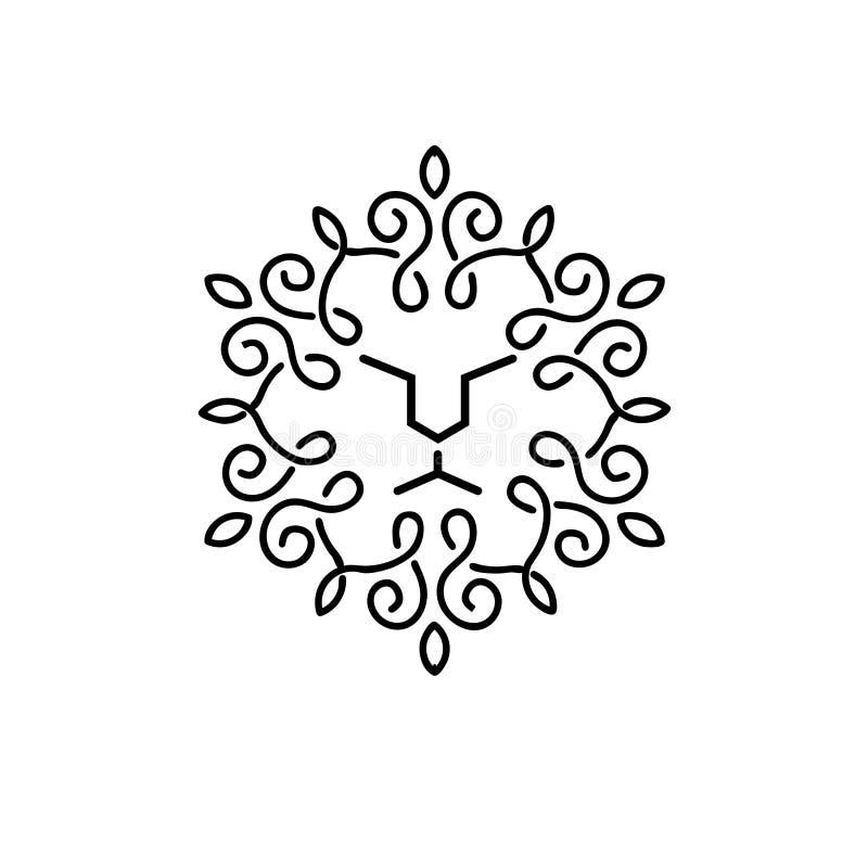 葡萄酒狮子面孔线艺术略写法 库存例证