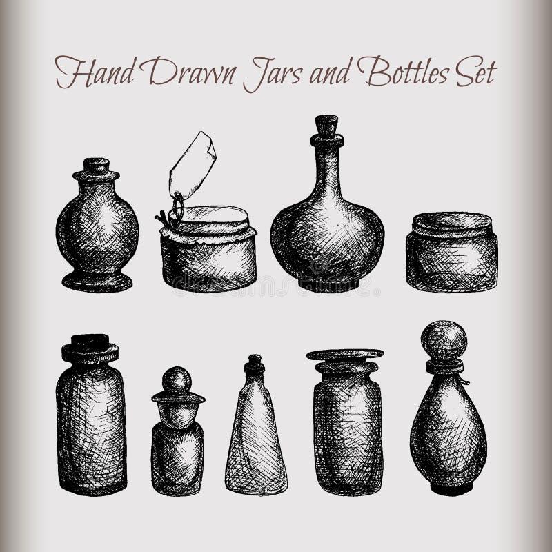 葡萄酒瓶子和瓶 库存例证