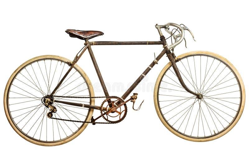 葡萄酒生锈了在白色隔绝的种族自行车 免版税库存照片