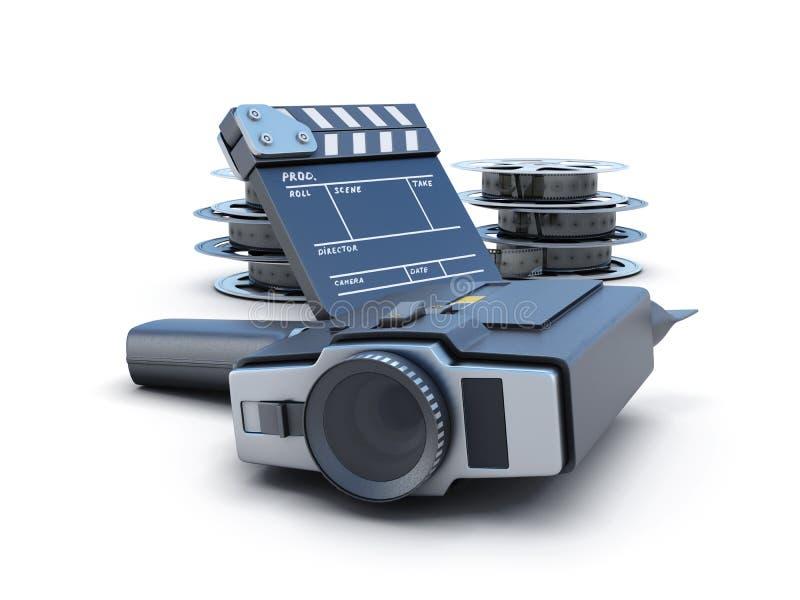 葡萄酒电影摄影机拍板和影片轴 皇族释放例证