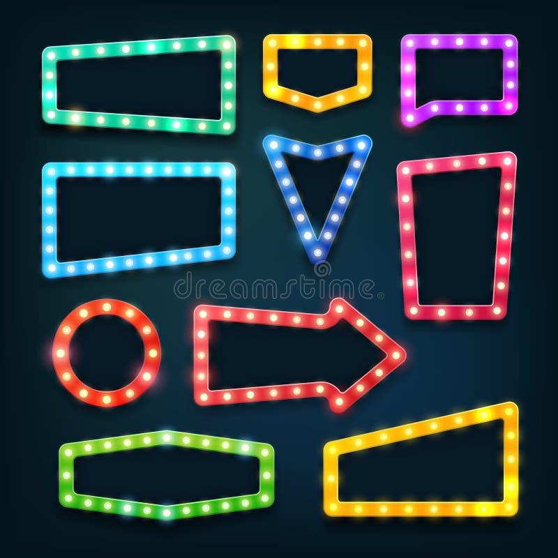 葡萄酒电影院光标志 与电灯泡传染媒介集合的维加斯赌博娱乐场空的框架 向量例证