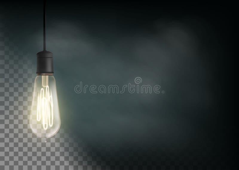 葡萄酒电灯泡在黑暗发光 向量例证