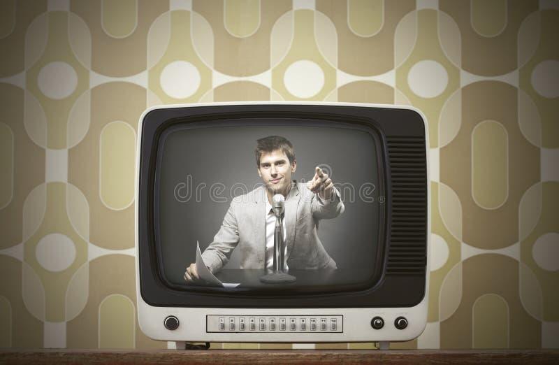 葡萄酒电视 免版税库存照片