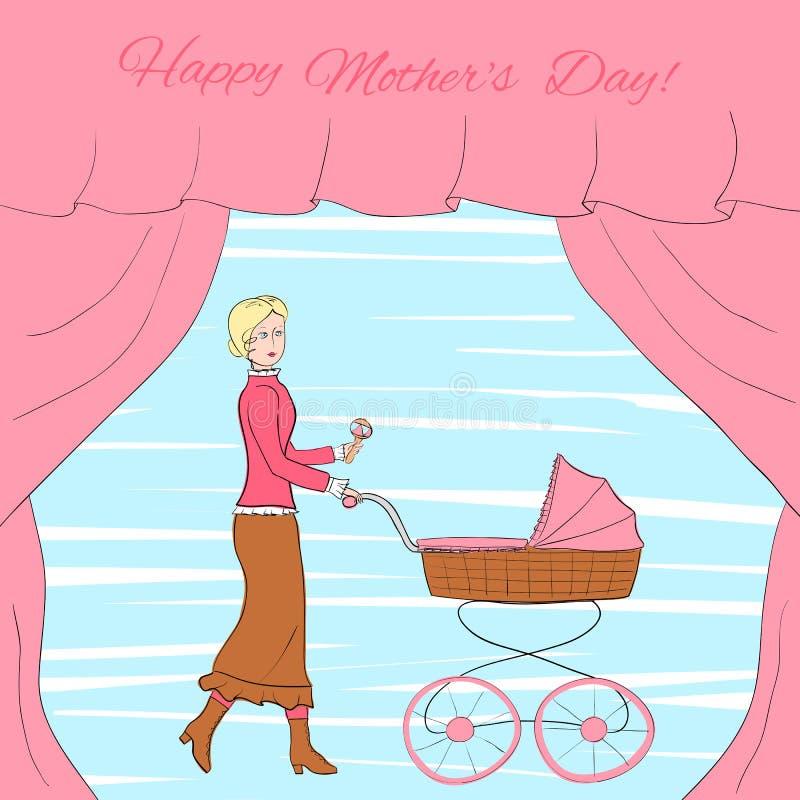 葡萄酒的少妇穿衣与一辆减速火箭的样式婴儿推车,用帷幕装饰的框架, eps10传染媒介例证 库存例证
