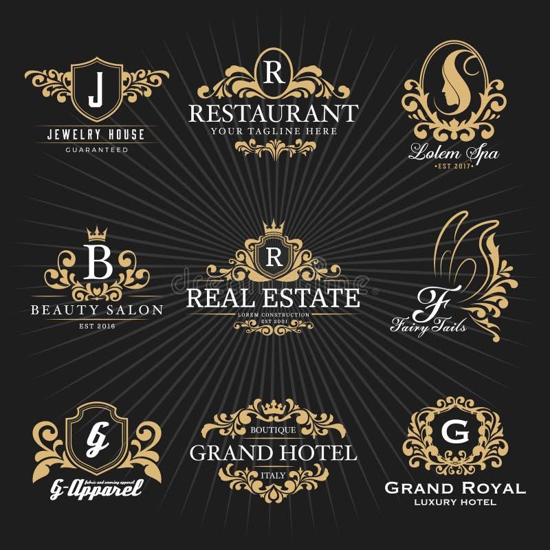 葡萄酒皇家纹章学组合图案和框架商标装饰设计 库存例证