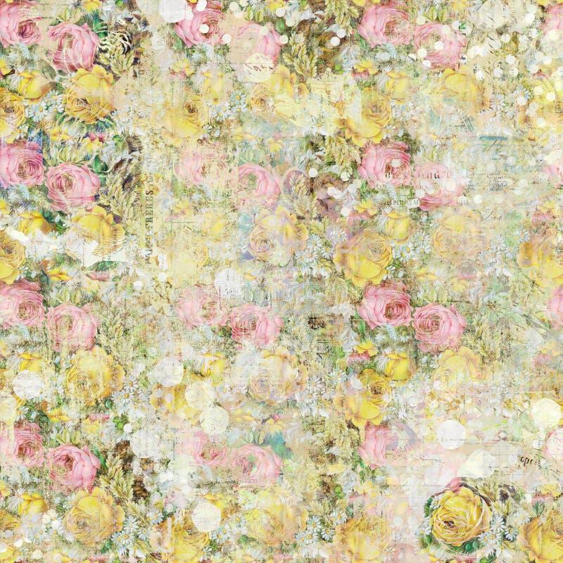 葡萄酒破旧的被绘的花卉玫瑰背景无缝的样式 库存例证