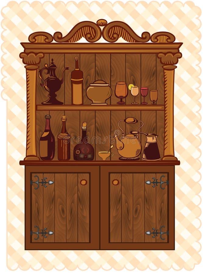 葡萄酒碗柜 向量例证