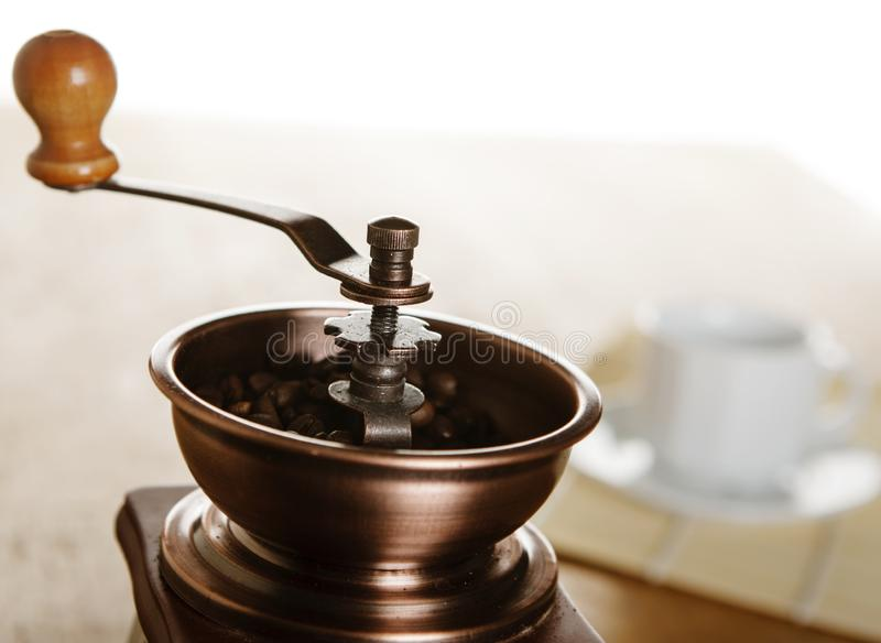 葡萄酒磨咖啡器 免版税库存图片