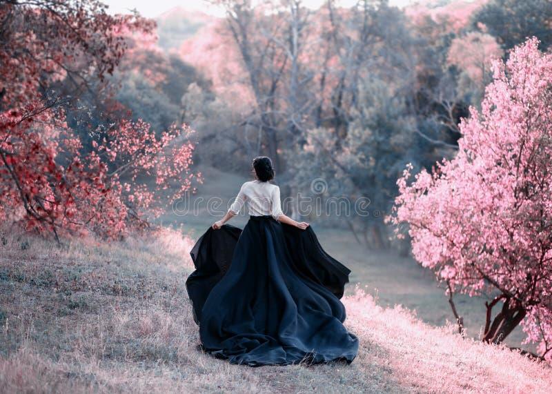 葡萄酒礼服逃命的公主 通过美丽如画的秋天小山走在桃红色口气的日落 一列长的火车  免版税库存图片