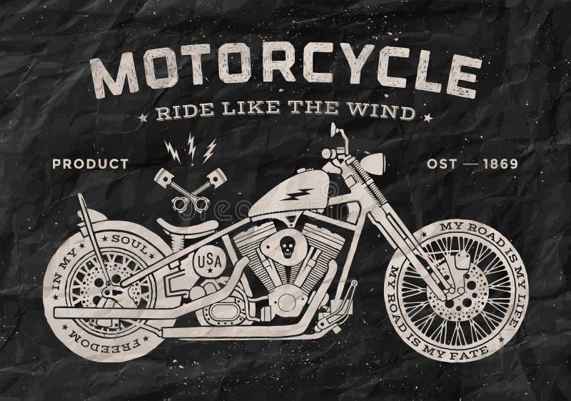 葡萄酒种族摩托车守旧派样式 投反对票 库存例证