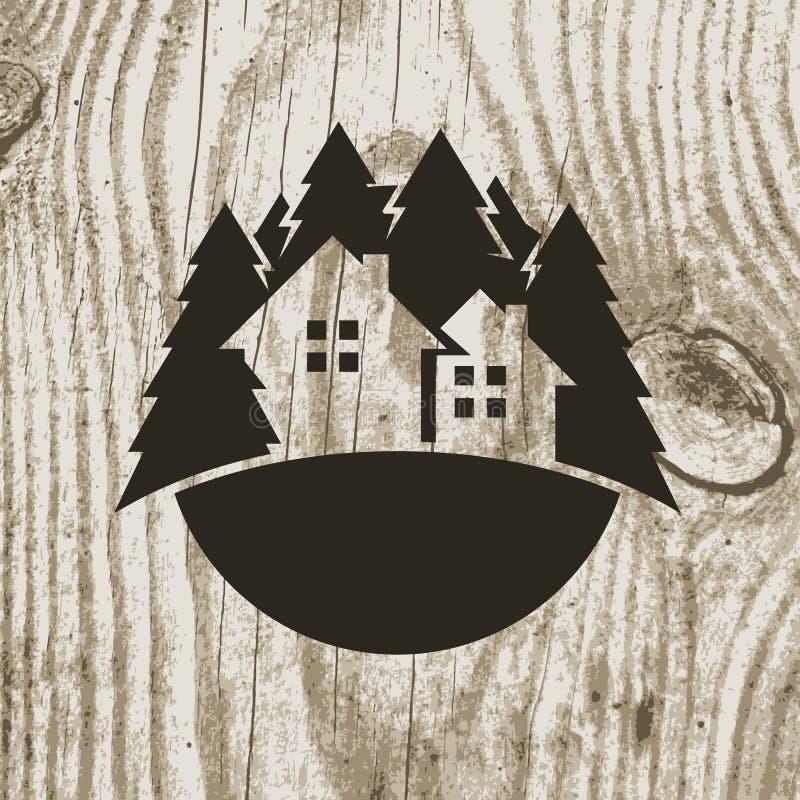 葡萄酒称呼了eco与树的房子徽章在木纹理backg 向量例证