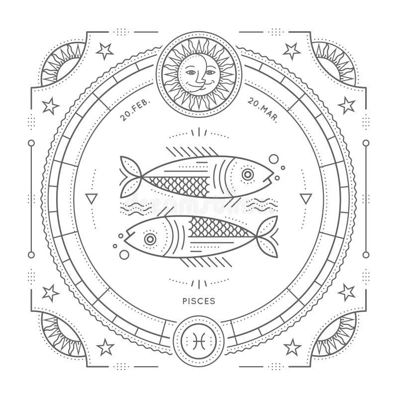 葡萄酒稀薄的线双鱼座黄道带标志标签 减速火箭的传染媒介占星术标志 向量例证
