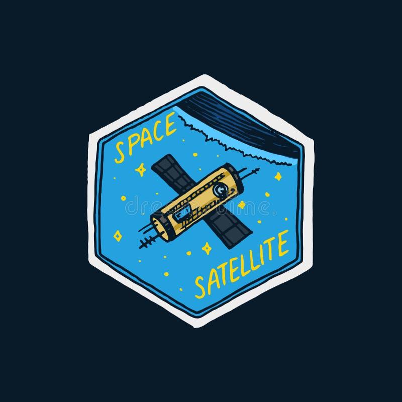 葡萄酒空间商标 天文学星系的探险 使命宇航员或太空人 宇航员冒险 荒地 库存例证