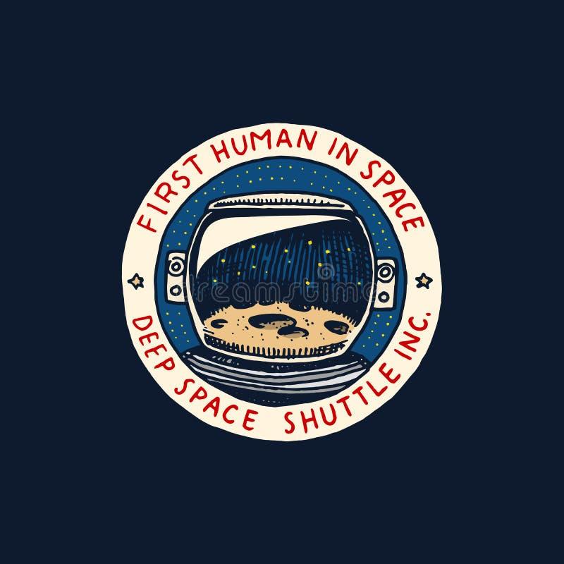 葡萄酒空间商标 天文学星系的探险 使命宇航员或太空人 宇航员冒险 荒地 向量例证
