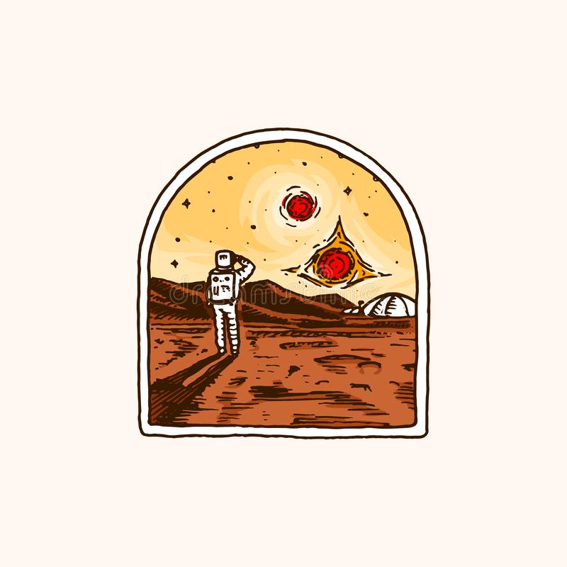 葡萄酒空间商标 天文学星系的探险 使命宇航员或太空人 宇航员冒险 荒地 皇族释放例证