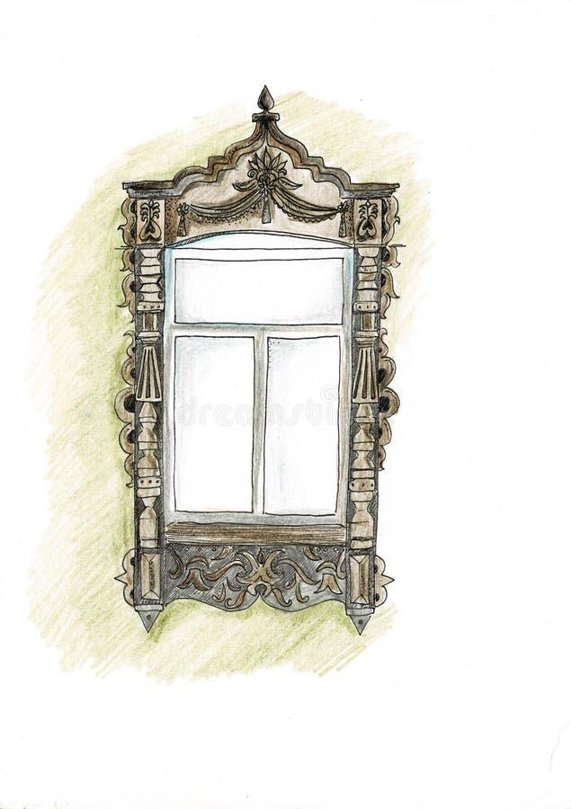 葡萄酒窗口手拉的套光栅图画 库存例证