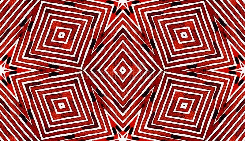 葡萄酒红几何水彩 可笑的无缝的样式 手拉的条纹 刷子纹理 Attracti 库存图片