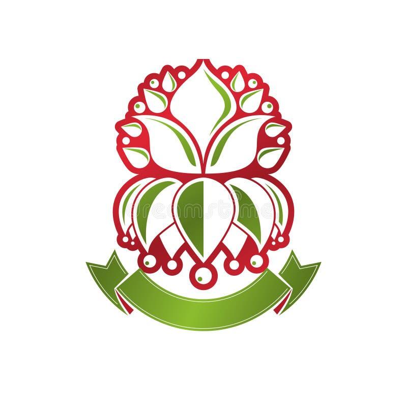 葡萄酒纹章学传染媒介权威组成与百合开花皇家标志 Eco友好的产品商标,环境保护题材 向量例证