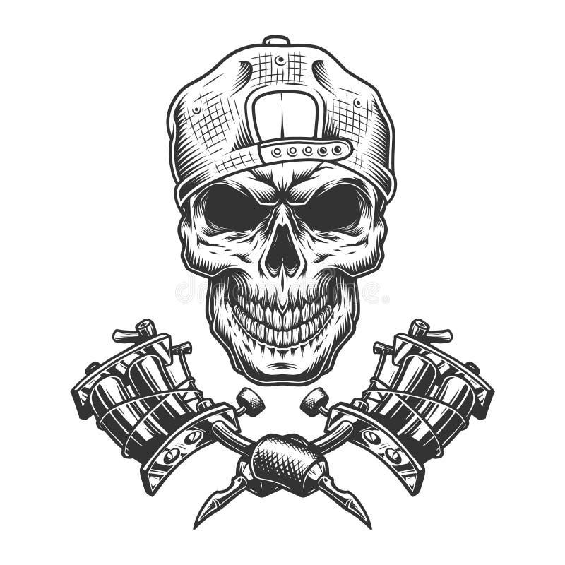葡萄酒纹身花刺在盖帽的大师头骨 皇族释放例证