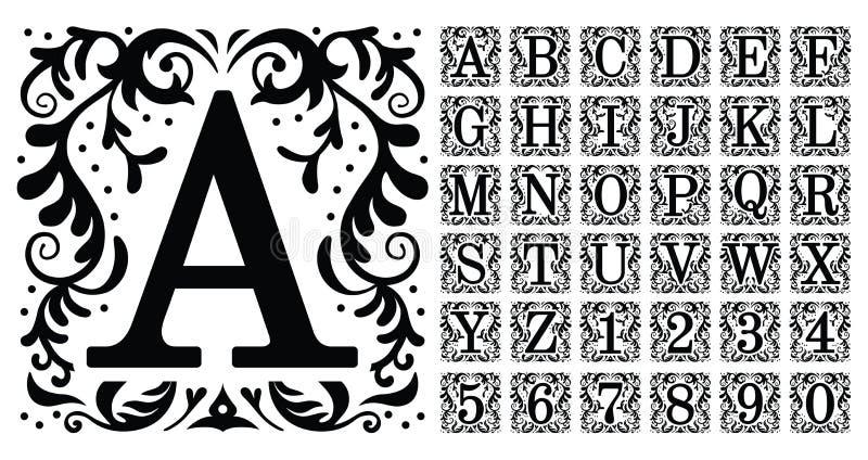 葡萄酒组合图案信件 装饰装饰古都信件、老字母表组合图案和金银细丝工的装饰品 库存例证