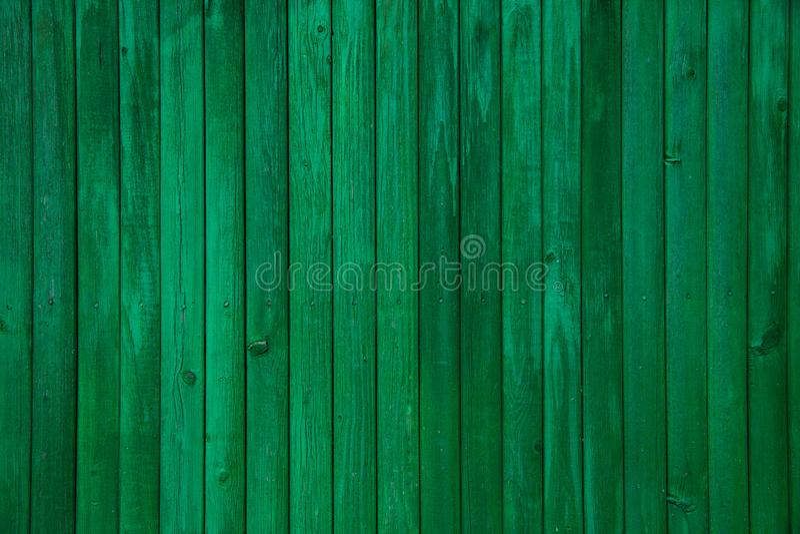 葡萄酒绿色被绘的老木板条纹理 免版税库存照片