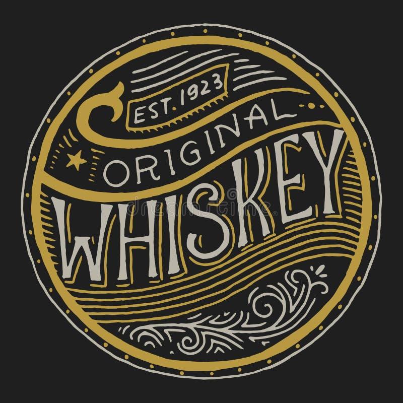 葡萄酒美国威士忌酒徽章 与书法元素的酒精标签 t的手拉的被刻记的剪影字法 向量例证