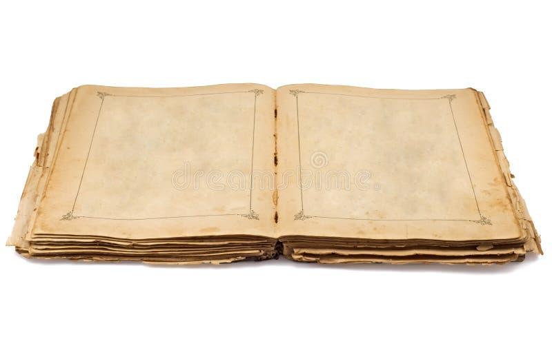 葡萄酒老开放书和空的页 库存照片