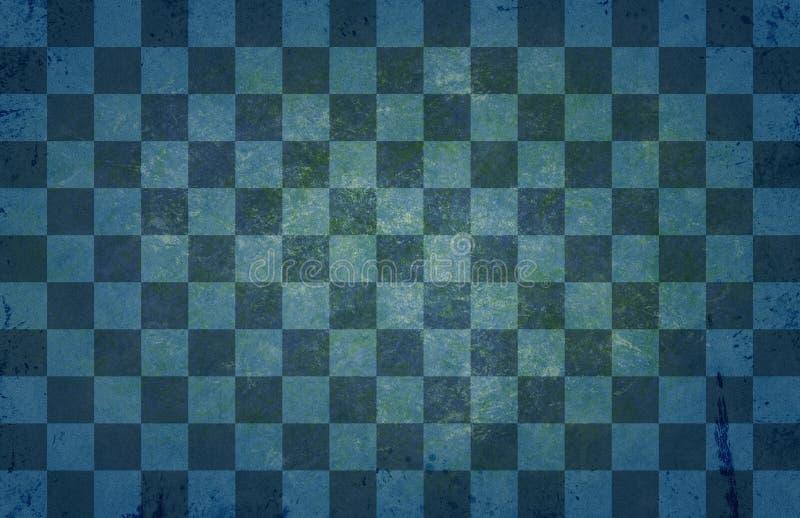 葡萄酒老棋枰纹理-减速火箭的棋样式-蓝绿葡萄酒背景 库存例证