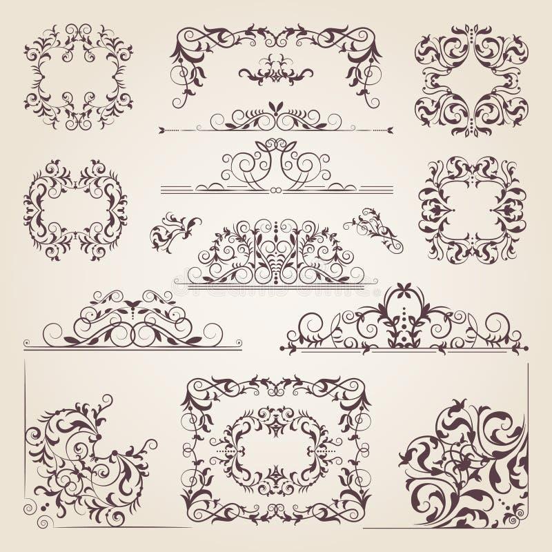 葡萄酒老横幅、漩涡、角落和不同的边界 导航装饰框架 您的项目的设计元素 库存例证