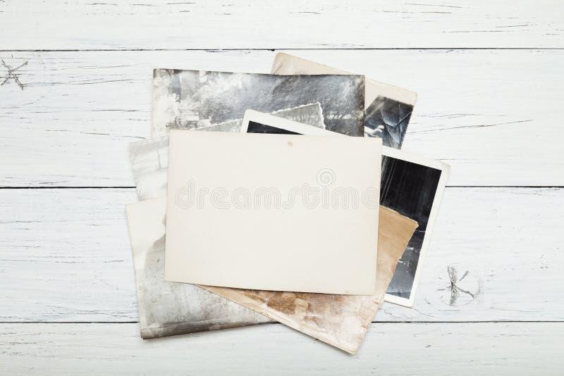 葡萄酒老照片,册页框架堆 免版税库存照片