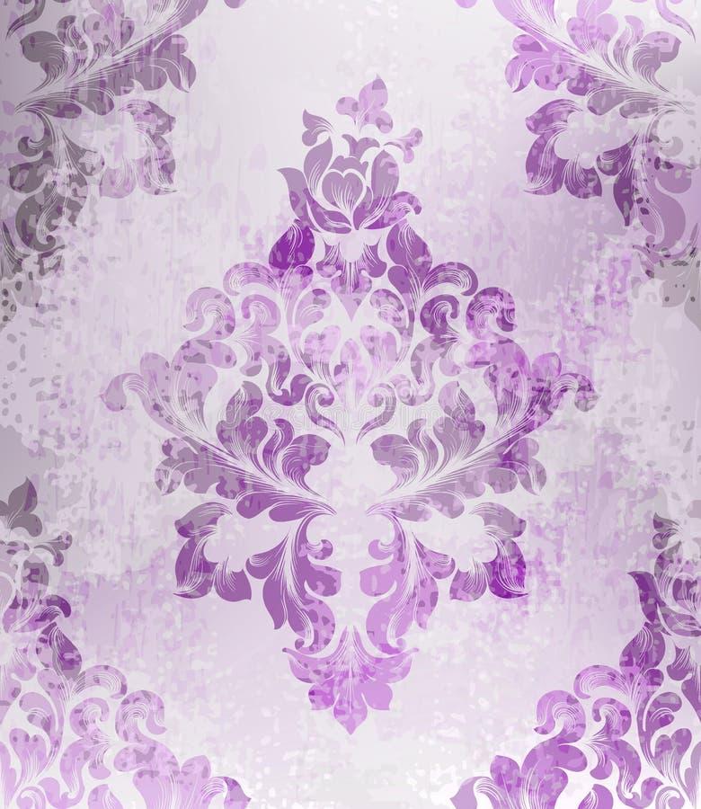 葡萄酒老纸纹理传染媒介 豪华巴洛克式的样式墙纸装饰品装饰 纺织品,织品,瓦片 紫色颜色 向量例证