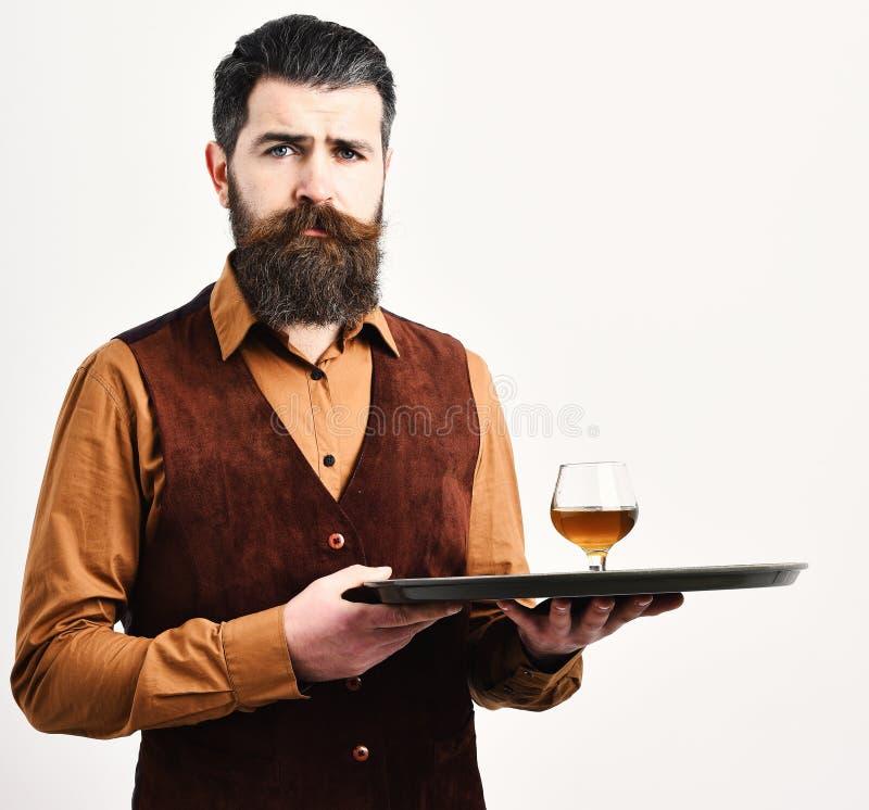 葡萄酒背心的男服务员有周道的面孔的供食科涅克白兰地 免版税库存照片