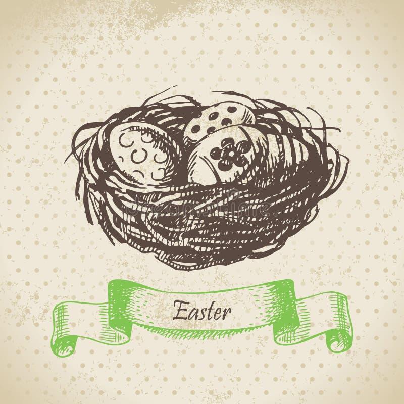 葡萄酒背景用复活节彩蛋和巢。手拉的illustr 皇族释放例证