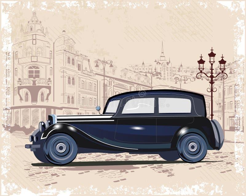 葡萄酒背景系列用减速火箭的汽车和老城市街道视图装饰的 向量例证