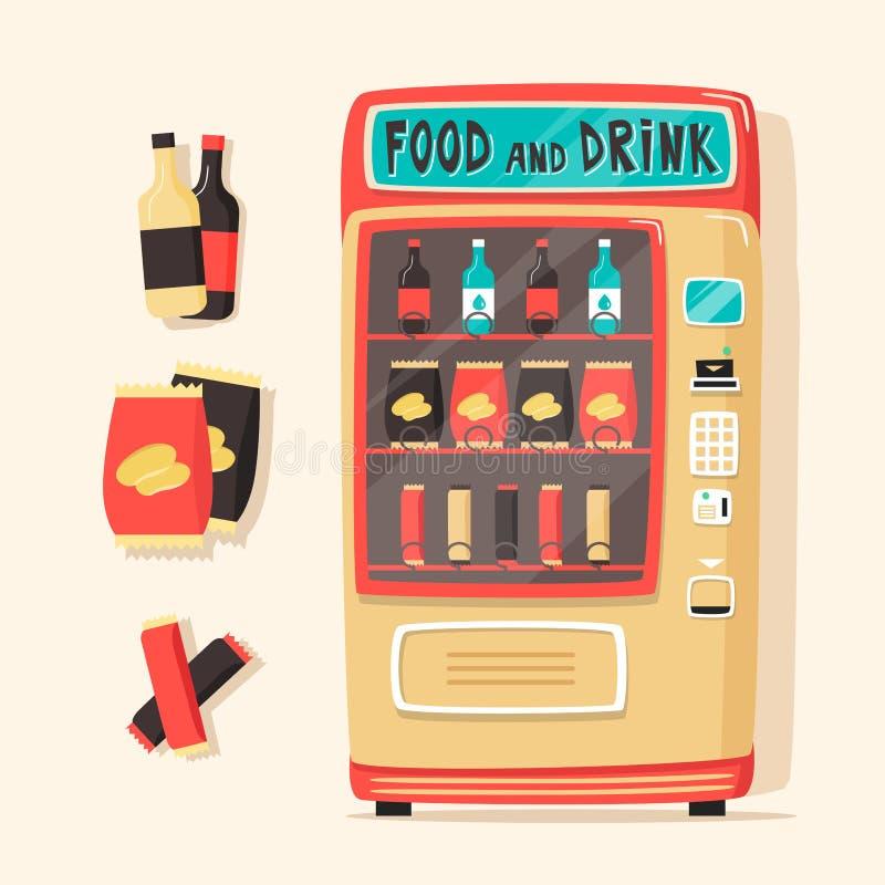 Download 葡萄酒自动售货机用食物和饮料 减速火箭的样式 向量例证. 插画 包括有 商业, 前面, 打赌的人, 按钮 - 72369179