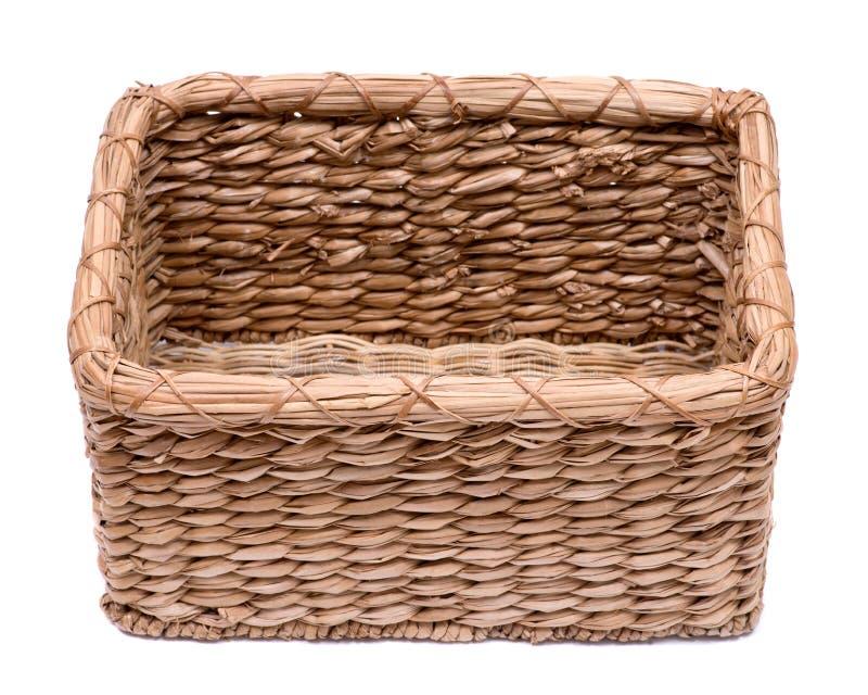 葡萄酒自然长方形海草手工制造篮子 免版税库存照片