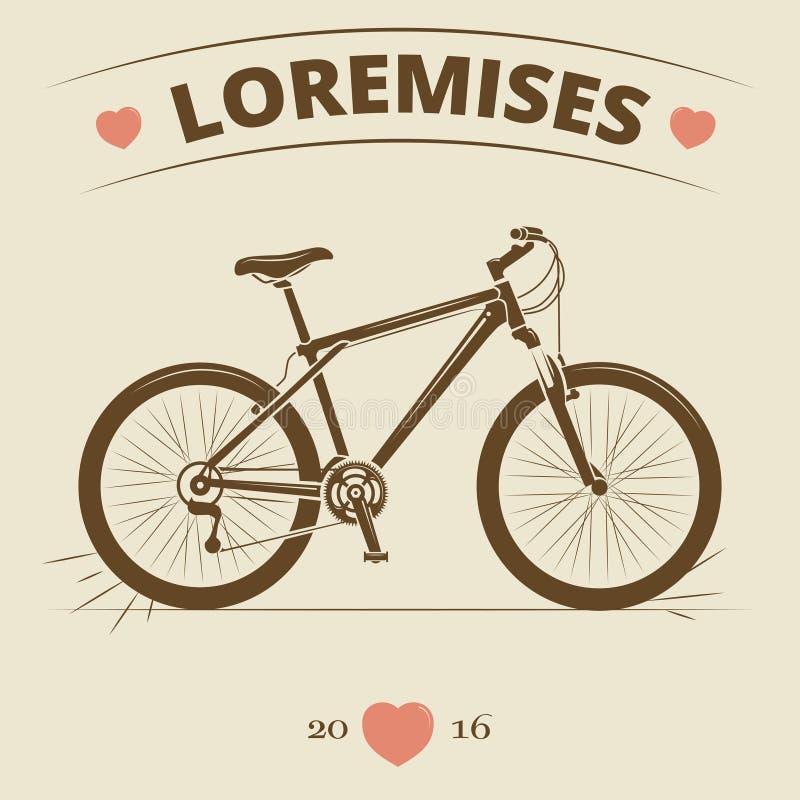 葡萄酒自行车商标或印刷品设计 向量例证