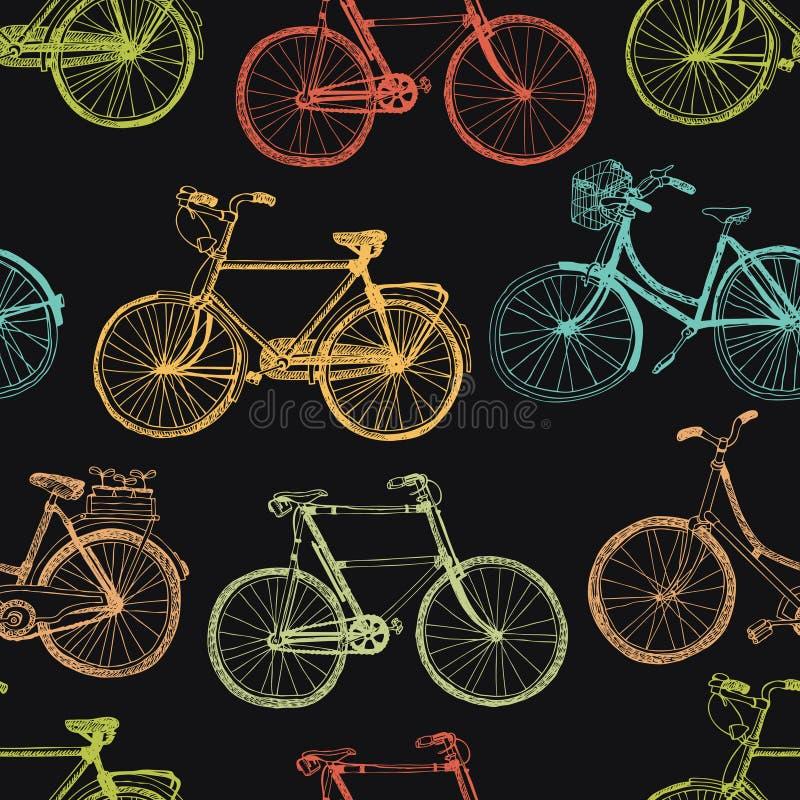 葡萄酒自行车,五颜六色的无缝的背景 库存例证