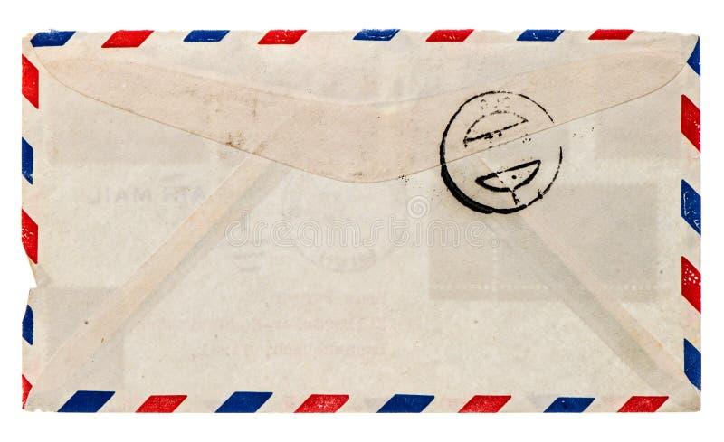 葡萄酒航寄信封。减速火箭的岗位信件 免版税库存图片