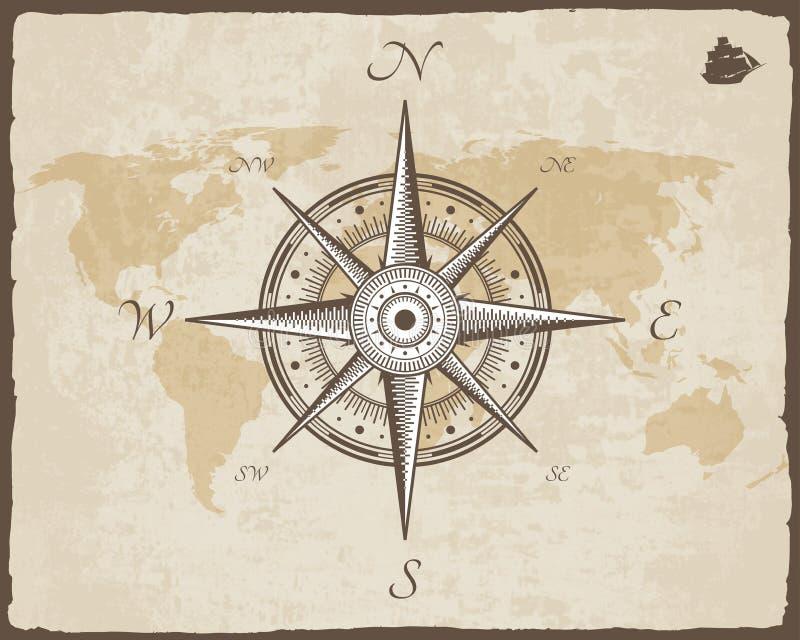 葡萄酒船舶指南针 与被撕毁的边界框架的老地图传染媒介纸纹理 玫瑰色风 皇族释放例证