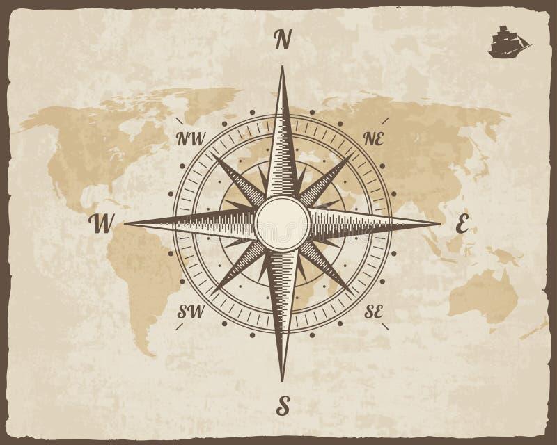 葡萄酒船舶指南针 在传染媒介纸纹理的旧世界地图与被撕毁的边界框架 玫瑰色风 背景船商标 库存例证