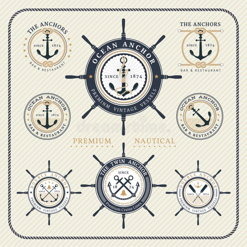 葡萄酒船舶方向盘和船锚标号组 皇族释放例证