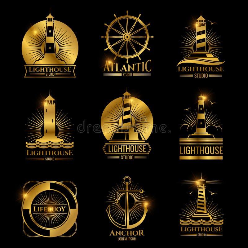葡萄酒船舶灯塔、海船和船锚 库存例证